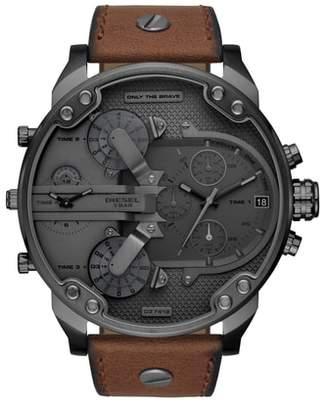 Diesel R) Mr. Daddy 2.0 Chronograph Leather Strap Watch, 57mm
