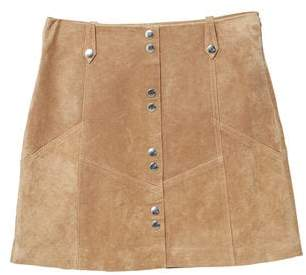 MANGO Snap leather skirt