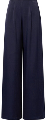 Les Héroïnes - The Coco Wide-leg Satin Pants - Navy