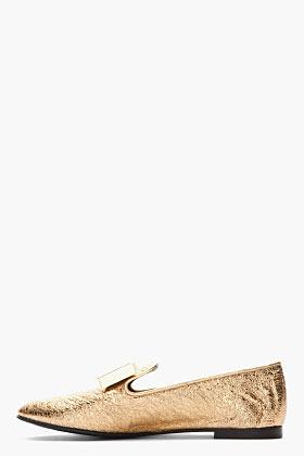 Giuseppe Zanotti Gold bow leather Dalila loafers