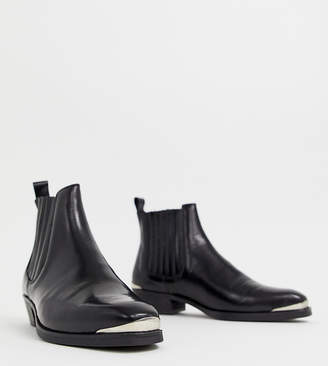 Asos DESIGN stacked heel western chelsea boots in black leather with metal details