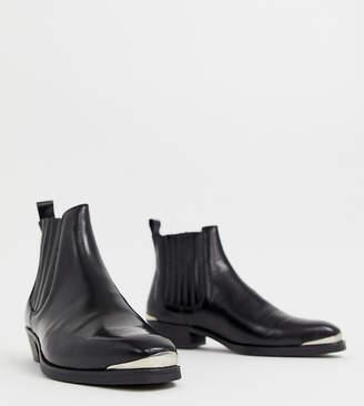 Asos Design DESIGN cuban heel western chelsea boots in black leather with metal details