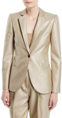 Emporio Armani One-Button Metallic Wool Classic Jacket