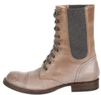 Brunello Cucinelli Brogue Leather Combat Boots