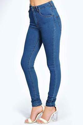 Damen Charlie Jeans in mittlerer Waschung mit sehr hohem Bund in Blau