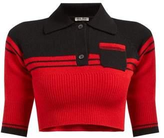 Miu Miu Block Colour Cropped Cashmere Sweater - Womens - Red