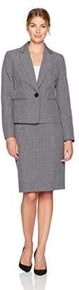 Le Suit Women's Tonal Plaid 1 Button Skirt Suit