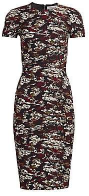 Victoria Beckham Women's Camo Print Cap Sleeve Sheath Dress