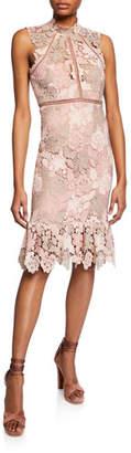 Bardot Dani High-Neck Floral Lace Cocktail Dress