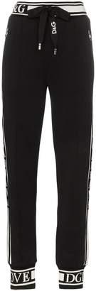 Dolce & Gabbana logo stripe cotton track pants