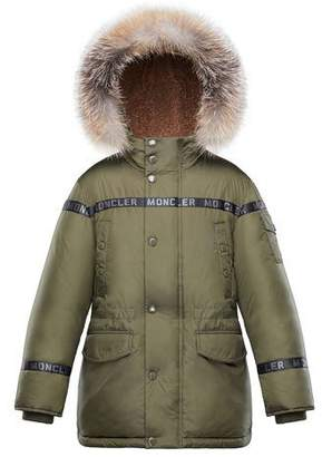 Moncler Boys' Naussac Hooded Coat w/ Fox Fur Trim, Size 8-14
