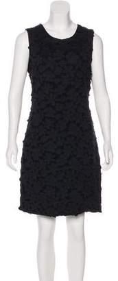 Oscar de la Renta Floral Appliqué Virgin Wool Dress