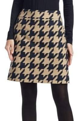 Akris Punto Houndstooth Jacquard A-Line Skirt