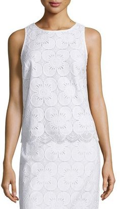 Trina Turk Sleeveless Lace Scalloped-Hem Top $198 thestylecure.com