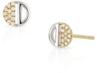 Bony Levy 18K Two-Tone Gold Diamond & Half Moon Cutout Earrings - 0.08 ctw