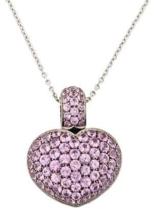 18K Sapphire Heart Pendant Necklace