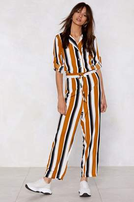Nasty Gal If the Stripe is Right Snap Jumpsuit