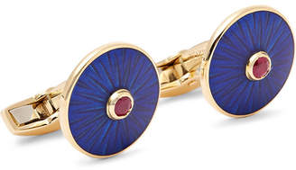 Deakin & Francis Enamelled 18-Karat Gold Ruby Cufflinks - Blue