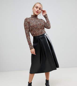 Asos DESIGN Petite leather look full midi skirt with box pleats