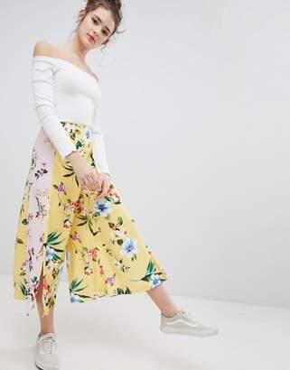 Bershka floral culotte in yellow