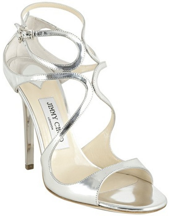 Jimmy Choo silver mirrored leather 'Lance' sandals