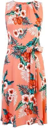 Dorothy Perkins Womens **Billie & Blossom Coral Floral Print Soft Belt Dress