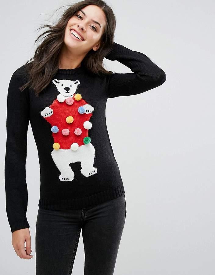 Novelty Polar Bear Jumper With Pom Poms