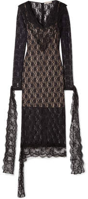Christopher Kane Tie-detailed Stretch-chantilly Lace Midi Dress - Black