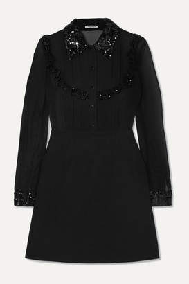 Miu Miu Sequined Grosgrain-trimmed Silk-chiffon And Wool-blend Mini Dress - Black