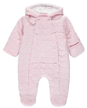 George Pink Heart Print Hooded Quilted Pramsuit