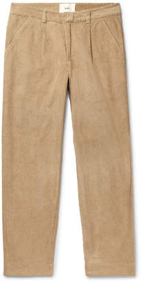 Folk Signal Tapered Pleated Cotton-Corduroy Trousers - Men - Neutrals