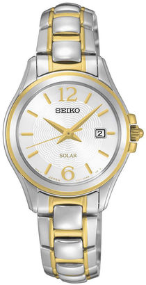 Seiko Womens Two-Tone Silver-Tone Dial Bracelet Watch SUT250 $275 thestylecure.com