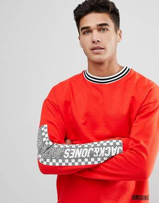 Jack and Jones Originals Long Sleeve T-Shirt With Checkerboard Sleeve Print