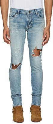 Saint Laurent Blue Low Waisted Skinny Jeans $850 thestylecure.com