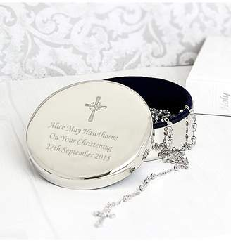 Very Rosary Beads and Personalised Cross in Round Silver Finish Trinket Box