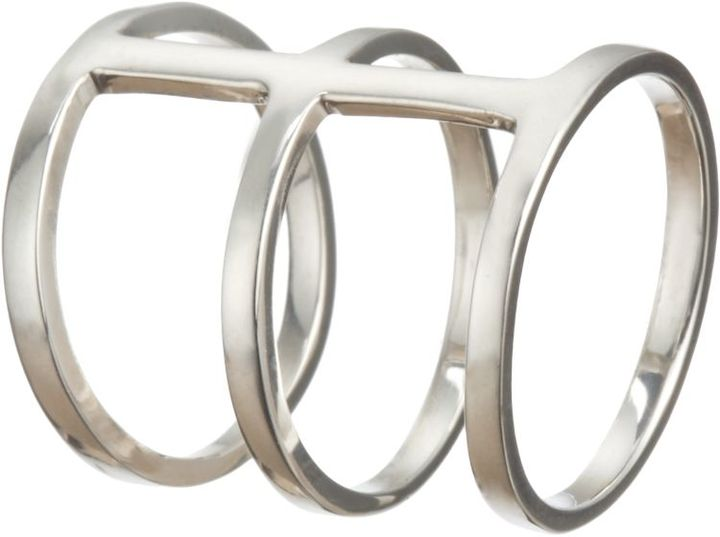 Loren Stewart Silver Triple-Band Cage Ring-Colorless