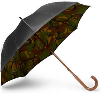 London Undercover British Woodland Maple Wood-Handle Umbrella - Black