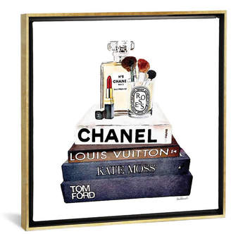 "iCanvas Stack of Fashion Books with Makeup I by Amanda Greenwood Gallery-Wrapped Canvas Print - 18"" x 18"" x 0.75"""