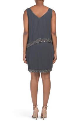J Kara Beaded Trim Cocktail Dress