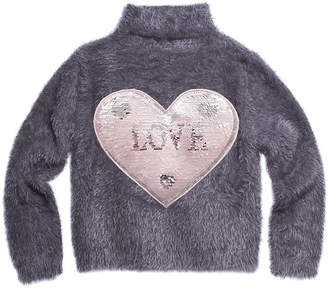 Imoga Fuzzy Yarn Turtleneck Sweater w/ Sequin Love Patch, Size 8-14