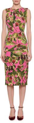 Dolce & Gabbana Sleeveless Fig-Print Charmeuse Midi Sheath Dress
