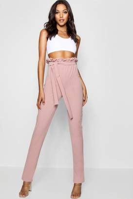 boohoo Tall Belted Skinny Trousers