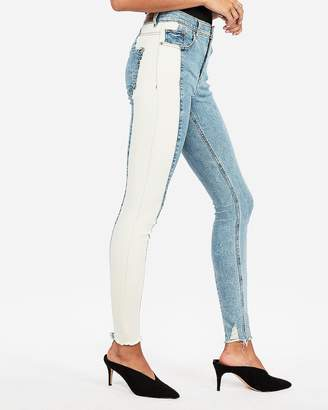 Express High Waisted Two Tone Stretch Ankle Jean Leggings