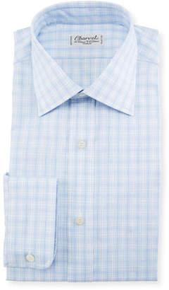 Charvet Woven Plaid Dress Shirt, Blue
