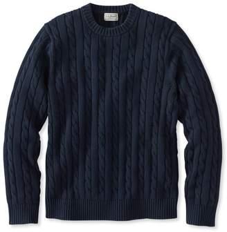 Double LA Cotton Sweater, Cable Crewneck