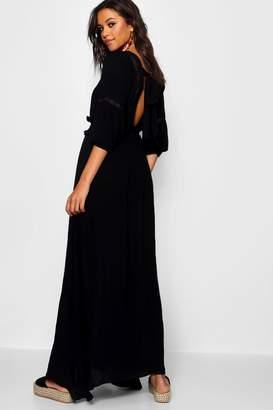 boohoo Shirred Waist Open Back Boho Midi Dress