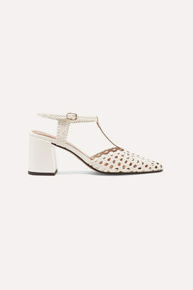 Souliers Martinez - Sevilla Woven Leather Pumps - White