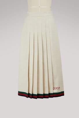 Gucci Pleated linen skirt