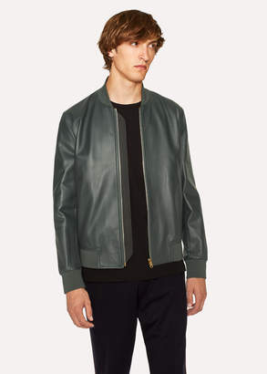 Paul Smith Men's Dark Green Leather Bomber Jacket