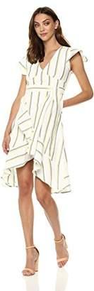 J.o.a. Women's Short Sleeve V Neck Ruffle Detail Flare Dress